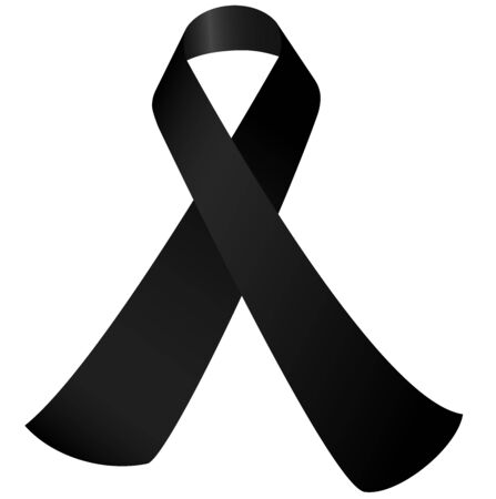 Illustration pour mourning concept with black awareness ribbon isolated - image libre de droit