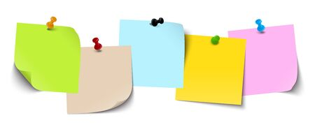 Illustration pour little sticky papers with colored pin needles and different real shadows - image libre de droit
