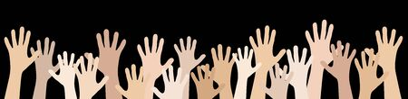 Illustration pour illustration of many different skin colored people stretch their hands up symbolizing cooperation or diversity friendship - image libre de droit