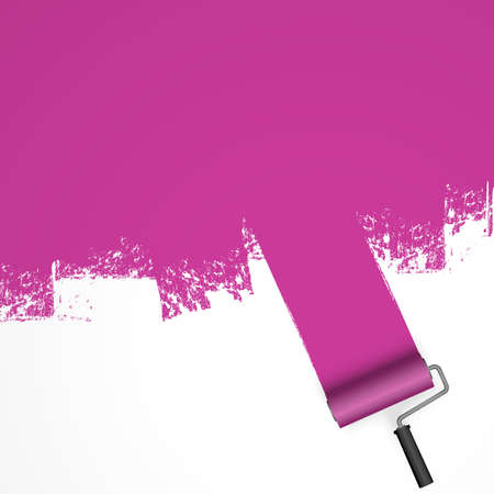EPS 10 vector illustration isolated on white background with paint roller and painted marking colored purple