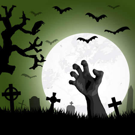 Illustration pour zombie hand in front of full moon with scary illustrated elements for Halloween background layouts - image libre de droit