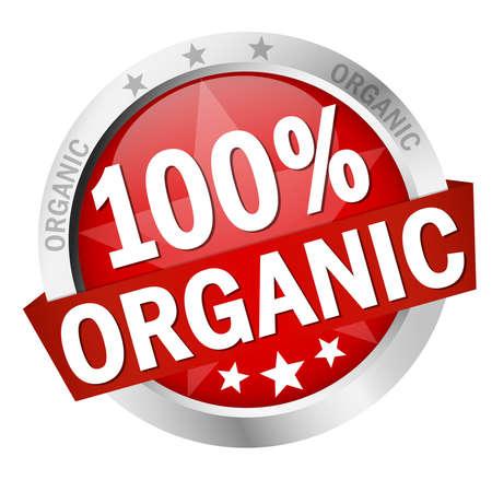 Illustration pour round colored button with banner and text 100% organic - image libre de droit