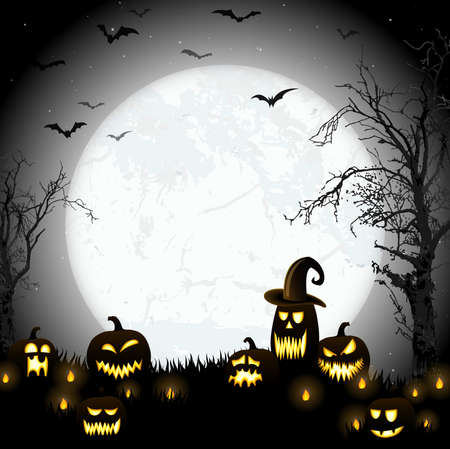 Illustration pour spooky halloween dead tree with some scary pumpkins in front of an full moon with bats - image libre de droit