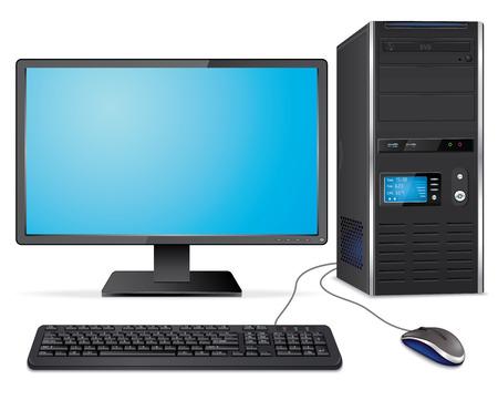 Ilustración de Realistic computer case with monitor,keyboard and mouse - Imagen libre de derechos