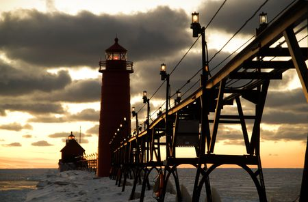 Sunset over Grand Haven Lighthouse, Grand Haven, Michigan, USA