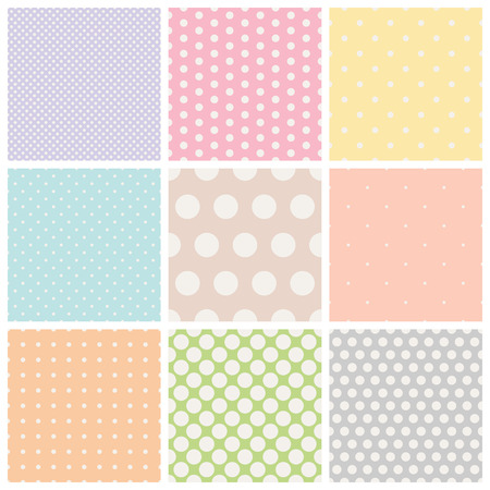 Illustration for set of seamless dots patterns - Royalty Free Image