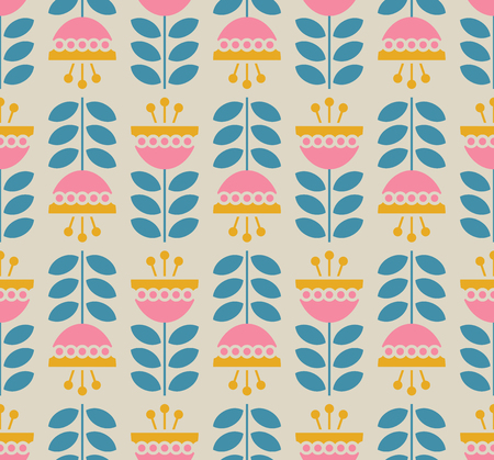Illustration for Seamless retro pattern with flowers and leaves - Royalty Free Image