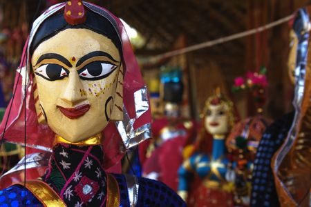 Puppets in a market in Rajasthan