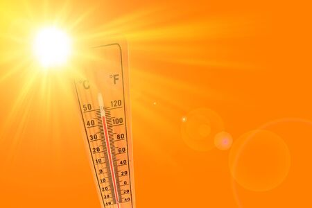 Foto de Orange illustration representing the hot summer sun and the environmental thermometer that marks a temperature of 45 degrees - Imagen libre de derechos
