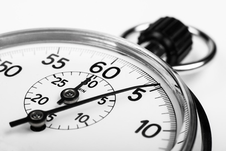 silver stopwatch closeup 5 sec isolated on white