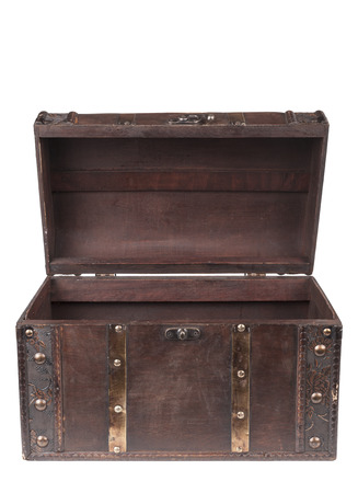 Old wood chest closed isolated on white background