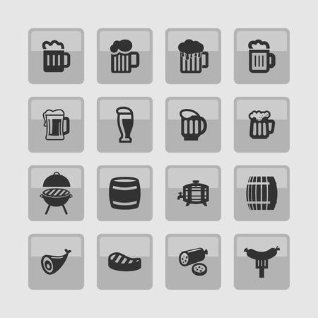 Beer sausage icon set