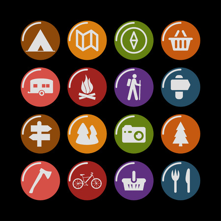 travel adventure camp icon set