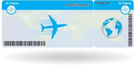 Ilustración de Variant of air ticket isolated on white. Vector illustration - Imagen libre de derechos