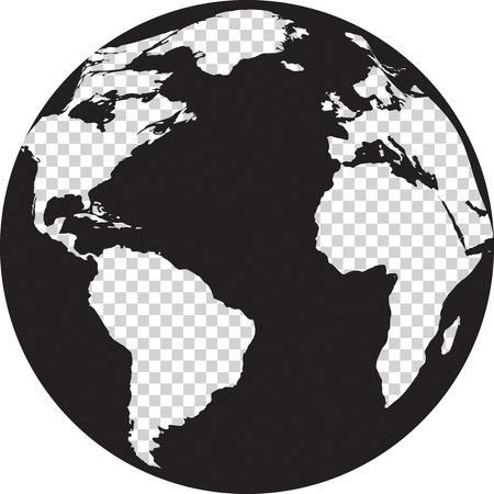 Black and white globe with transparency on the continents. Vector illustration