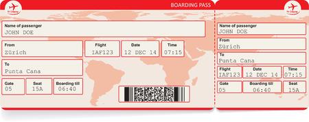 Ilustración de Vector image of airline boarding pass ticket with QR2 code. Isolated on white. Vector illustration - Imagen libre de derechos