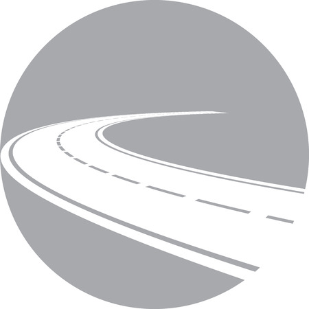 Vector illustration of logo with perspective of curved road