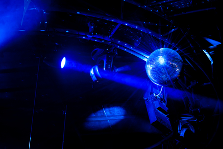 Photo for Disco ball with bright blue rays - Royalty Free Image