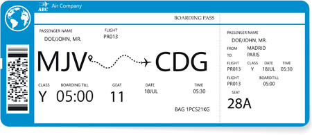Illustration for Realistic airline ticket design with not real passenger name. Variant of boarding pass pattern. Vector illustration - Royalty Free Image