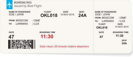 Illustration for Variant of air ticket boarding pass - Royalty Free Image