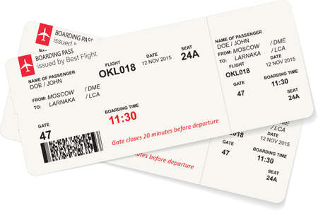Illustration for Vector template of red boarding pass tickets. - Royalty Free Image