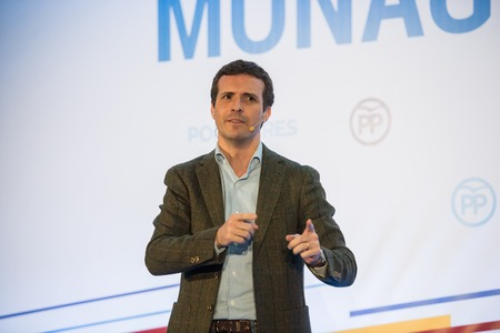 CACERES, SPAIN - DECEMBER 15, 2018: Pablo Casado, Spanish politician and leader of the People's Party present Jose Antonio Monago, former President of the Regional Extremadura Government as the official candidate for the same political office.