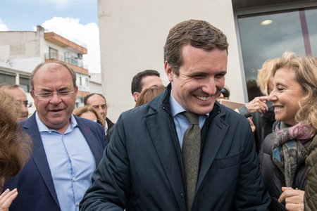 Arrival and greetings from Pablo Casado leader of the conservative Popular Party in Caceres, Spain