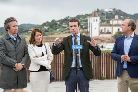 Conservative Popular Party conference in Caceres of Pablo Casado leader of PP and candidate for prime minister in Spain