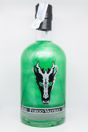 Bottle of bright pink alcoholic beverage called Dracarys inspired by the TV series Game of Thrones