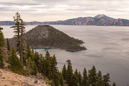 Views of Wizar Island from The Watchman lookout point in Crater Lake, Oregon, USA
