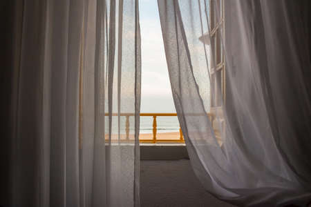 Photo pour View of Nazare beach from the window of a house on the promenade - image libre de droit
