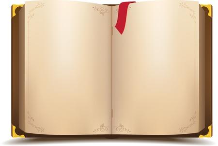 Illustration pour Old open magic book. Vector cartoon illustration - image libre de droit