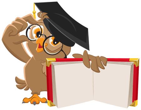 Illustration pour Owl holding open book. Illustration in vector format - image libre de droit