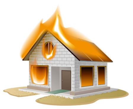White brick house on fire. Country cottage in danger. Isolated illustration in vector format