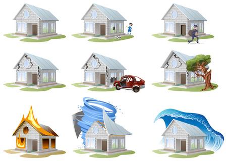 Illustration pour Home insurance. Property insurance. Big set house insurance. Vector illustration concept of insurance. - image libre de droit
