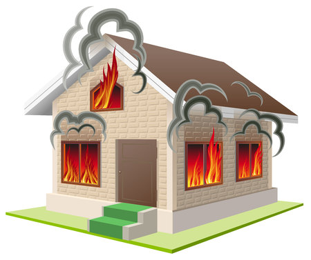 Stone house burns. Property insurance against fire. Home insurance. Isolated on white vector illustration