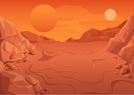 Red Planet Mars in space. Space landscape. Illustration in vector format