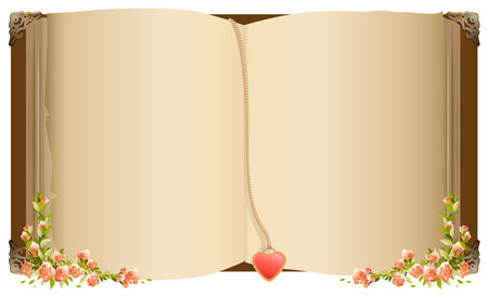 Illustration pour Old open book with bookmark in heart shape. Petro old book decorated with flowers. Isolated on white vector illustration - image libre de droit