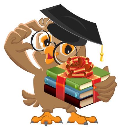 Illustration pour Owl teacher holding gift book. Book is best gift. cartoon illustration - image libre de droit