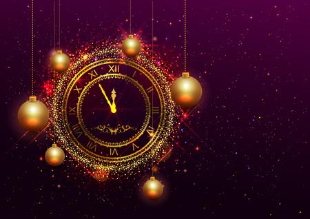Vektor für New Year Eve gold clock with Roman numerals. Vector illustration - Lizenzfreies Bild
