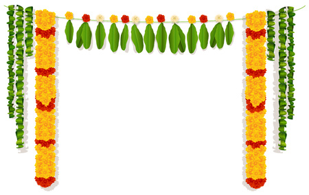Illustration pour Indian garland of flowers and leaves. Religion festive holiday decoration. Vector illustration isolated on white. - image libre de droit