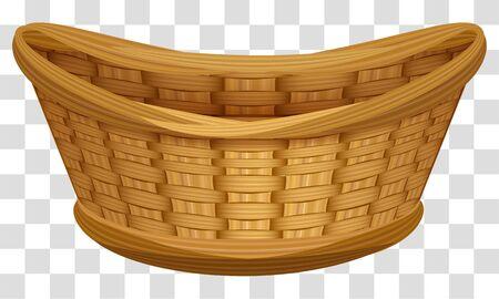 Illustration pour Empty wicker basket for flowers. Large birds nest for eggs. Isolated on transparent background vector cartoon illustration - image libre de droit