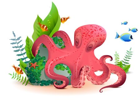 Illustration pour Underwater world red octopus and colored fishes. Isolated on white vector cartoon illustration - image libre de droit