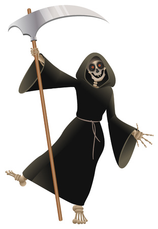 Illustration pour Death in black cloak with scythe dancing party Halloween. Isolated on white fun vector cartoon illustration - image libre de droit
