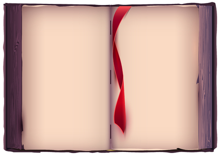 Illustration pour Open book with red bookmark. Old page template. Vector cartoon illustration - image libre de droit