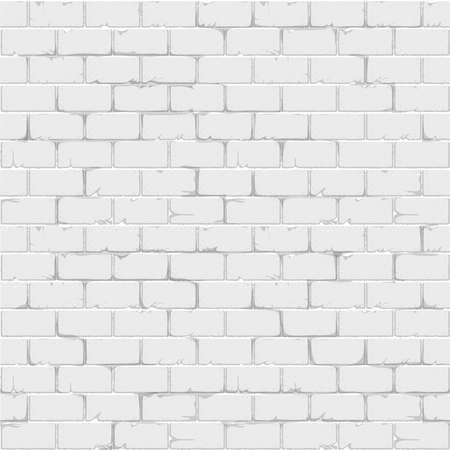 Illustration for White brick wall seamless background texture realistic surface. Vector illustration - Royalty Free Image