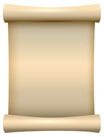 Illustration pour Empty blank paper scroll papyrus isolated on white. Vector cartoon illustration - image libre de droit