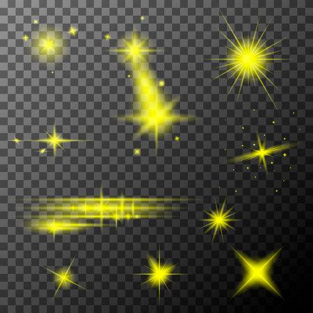 Illustration pour Set of yellow lens flares. Yellow sparkles shine special light effect. Vector lens flares on a transparent background. - image libre de droit
