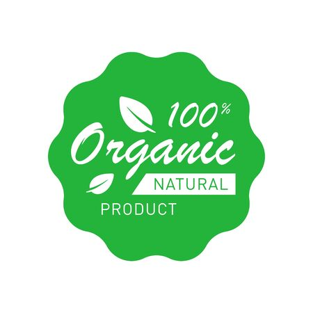 Illustration pour Organic 100 percent natural product badge with leaves. Design element for packaging design and promotional material. Vector illustration. - image libre de droit