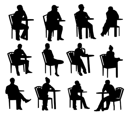 Illustration for Sitting silhouettes - Royalty Free Image